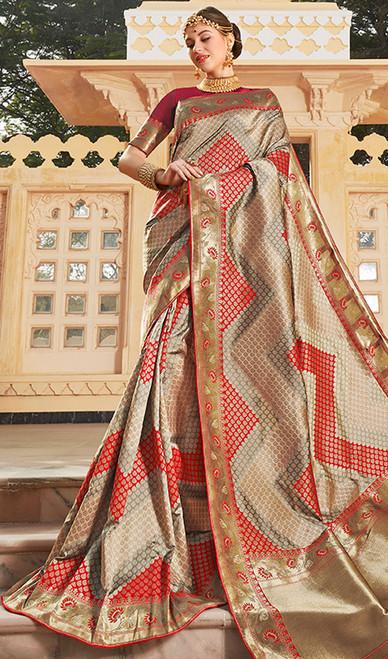 Multicolor Weaving Traditional Silk Sari