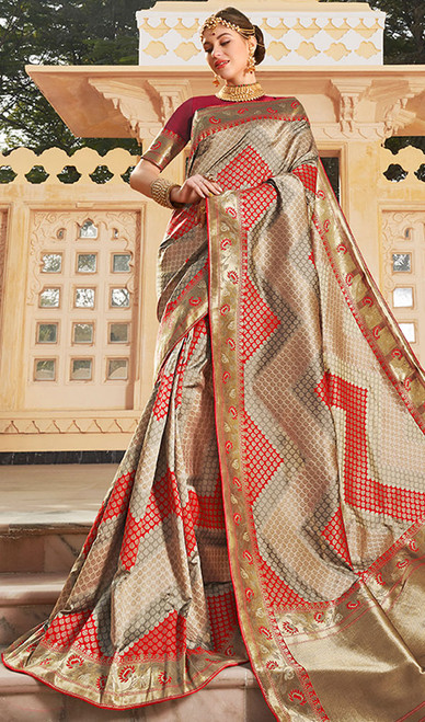 Multicolor Weaving Traditional Silk Sari