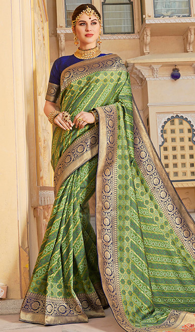 Weaving Green Color Shaded Silk Sari
