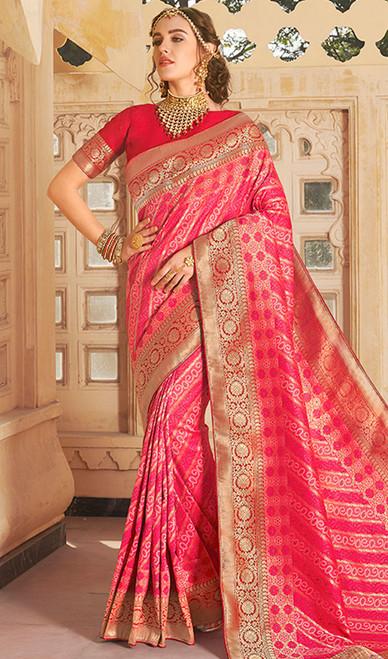 Rani Pink Color Shaded Weaving Silk Sari