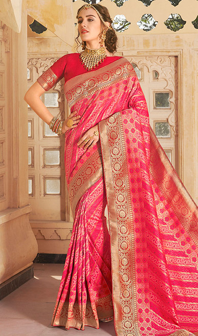 Rani Pink Color Shaded Weaving Silk Sari