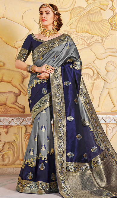 Navy Blue and Steel Gray Color Weaving Silk Sari