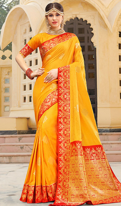 Yellow Color Weaving Indian Silk Sari