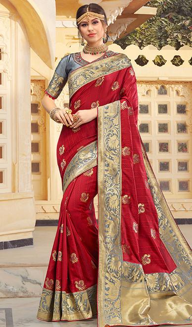 Maroon Color Shaded Weaving Silk Sari