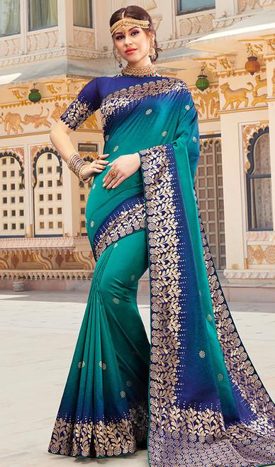 Weaving Designer Silk Sari in Multicolor