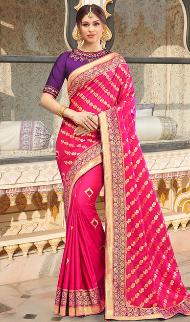 Pink Color Shaded Weaving Silk Sari