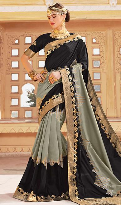 Black and Gray Color Weaving Silk Sari