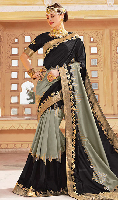 Black and Gray Color Weaving Silk Sari