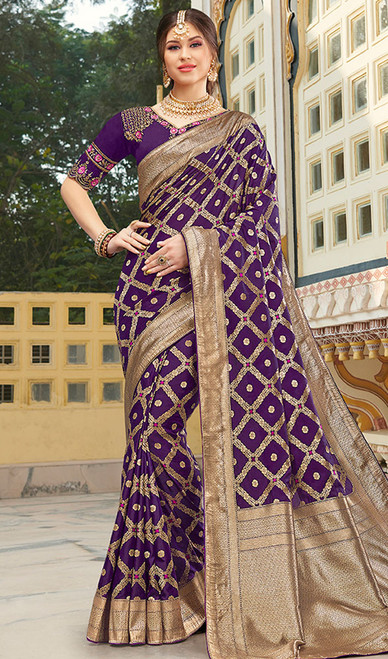 Purple Color Shaded Weaving Silk Sari