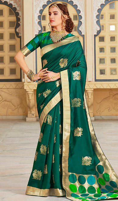 Green Color Shaded Weaving Silk Sari