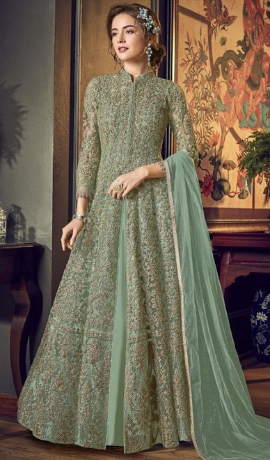 Pista Color Net Embroidered Anarkali Dress