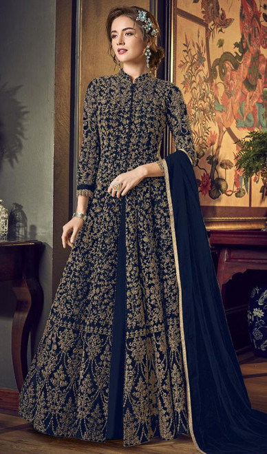 Net Embroidered Anarkali Suit in Navy Blue Color