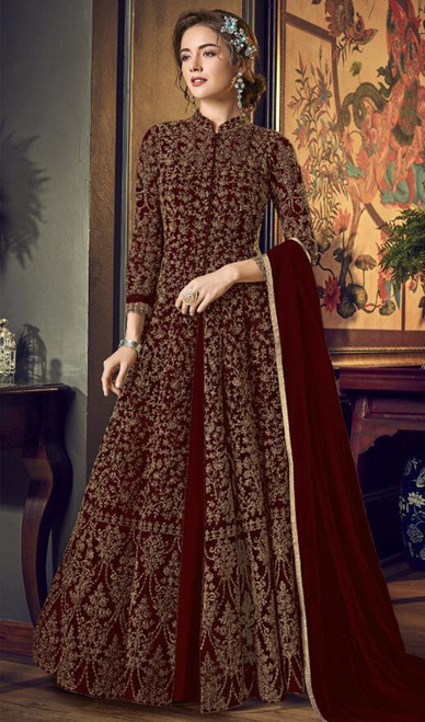Net Embroidered Anarkali Dress in Dark Maroon Color