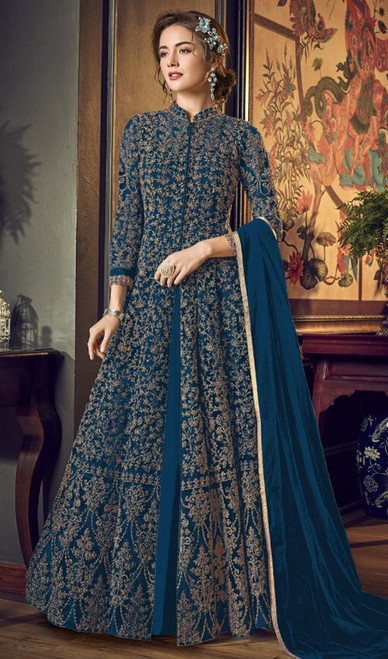 Net Embroidered Anarkali Suit in Teal Blue Color