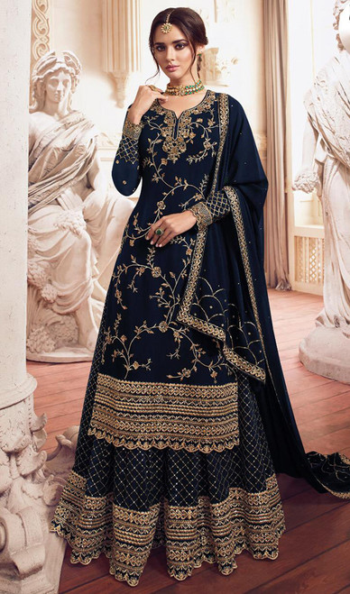 Georgette Embroidered Designer Lehenga Suit in Teal Blue Color