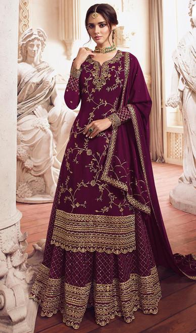 Georgette Embroidered Designer Lehenga Suit in Purple Color