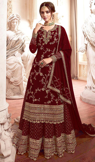 Georgette Embroidered Designer Lehenga Suit in Maroon Color