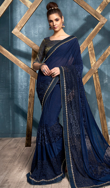 Lycra Embroidered Fancy Sari in Navy Blue Color