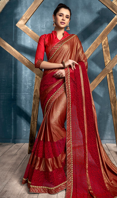 Lycra Embroidered Designer Sari in Red Color