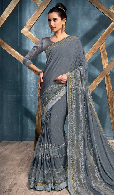 Lycra Embroidered Indian Sari in Gray Color