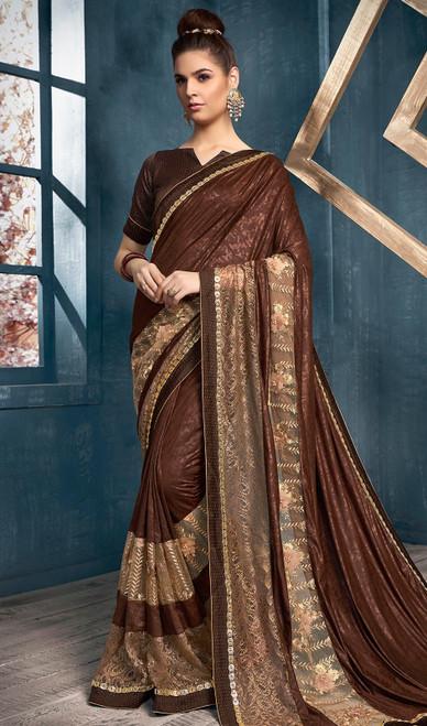 Lycra Brown Color Embroidered Sari