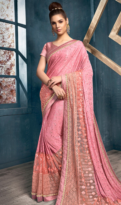 Lycra Designer Embroidered Sari in Light Pink Color