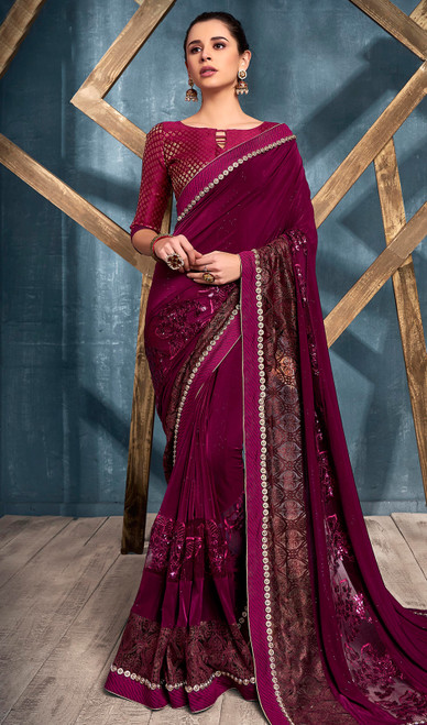 Wine Color Lycra Designer Embroidered Sari