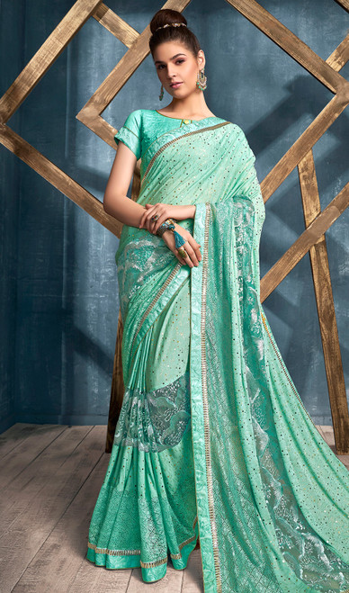 Lycra Aqua Color Embroidered Sari