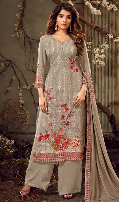 Georgette Embroidered Dark Beige Color Palazzo Suit
