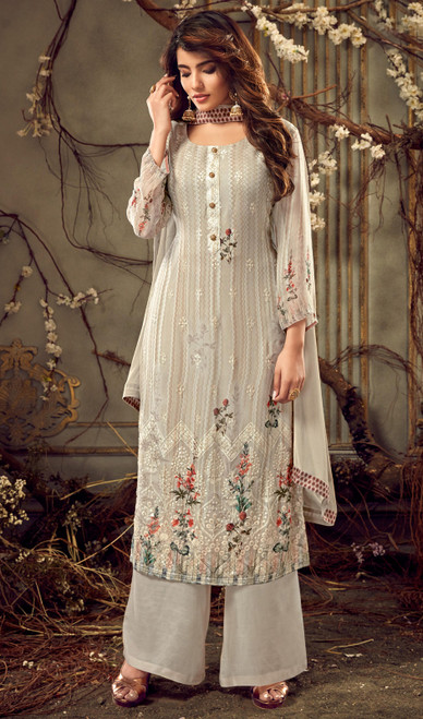 Georgette Off White Color Embroidered Palazzo Suit