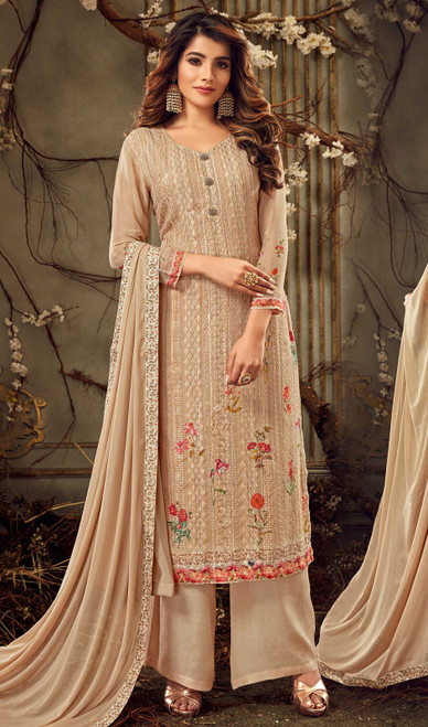 Cream Color Georgette Embroidered Palazzo Suit