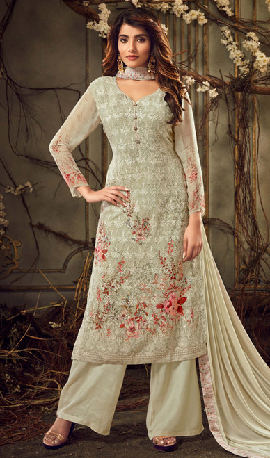 Pista Color Georgette Embroidered Palazzo Suit