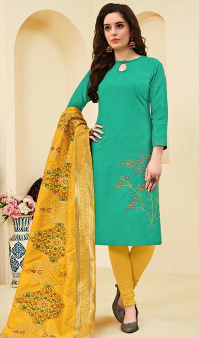 Rama Color Cotton Embroidered Churidar Suit