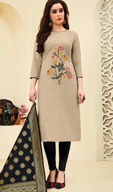 Cotton Beige Color Embroidered Churidar Dress