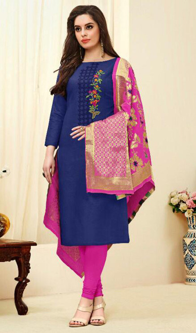 Blue Color Cotton Embroidered Churidar Suit