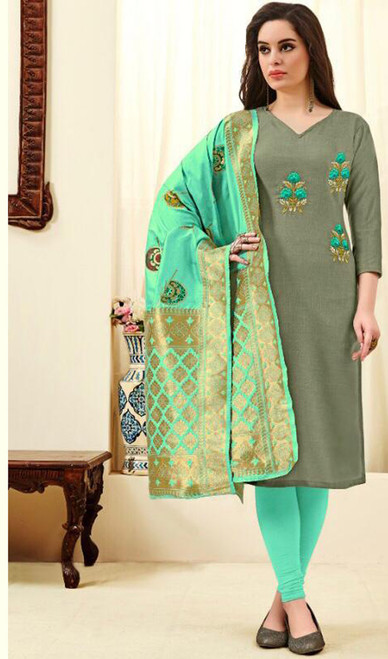 Cotton Embroidered Gray Color Churidar Dress