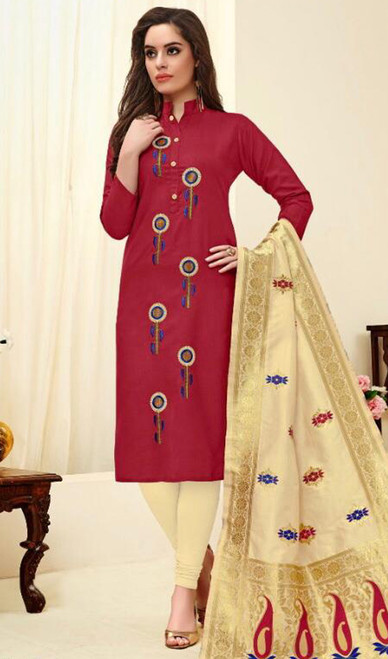 Cotton Embroidered Churidar Dress in Maroon Color