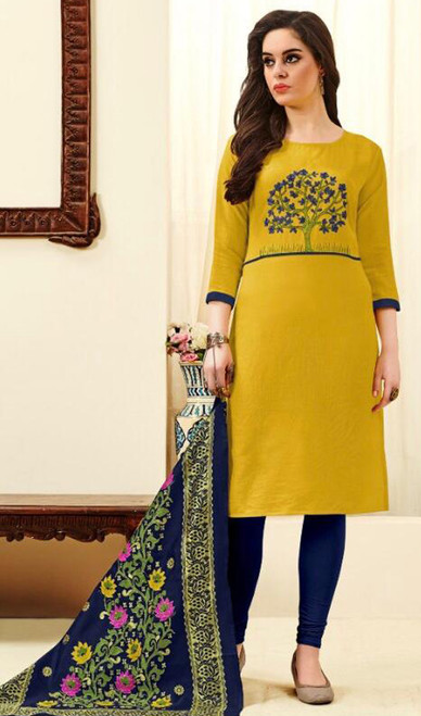Lemon Yellow Color Cotton Embroidered Churidar Suit