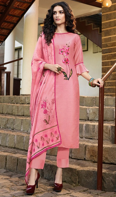 Peach Color Soft Silk Printed Pant Style Suit