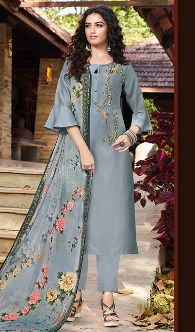 Gray Color Soft Silk Printed Pant Style Suit