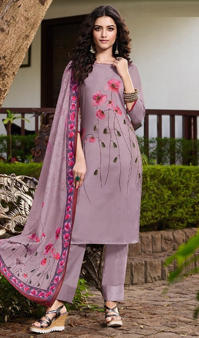 Lavender Color Soft Silk Printed Pant Style Suit
