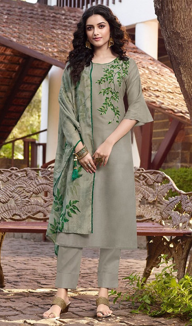 Olive Color Soft Silk Printed Pant Style Suit