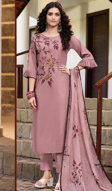 Rose Brown Color Soft Silk Printed Pant Style Suit