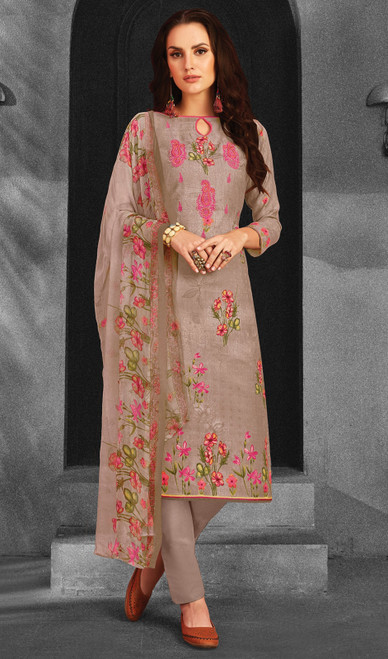 Cotton Rose Brown Color Shaded Pant Style Suit