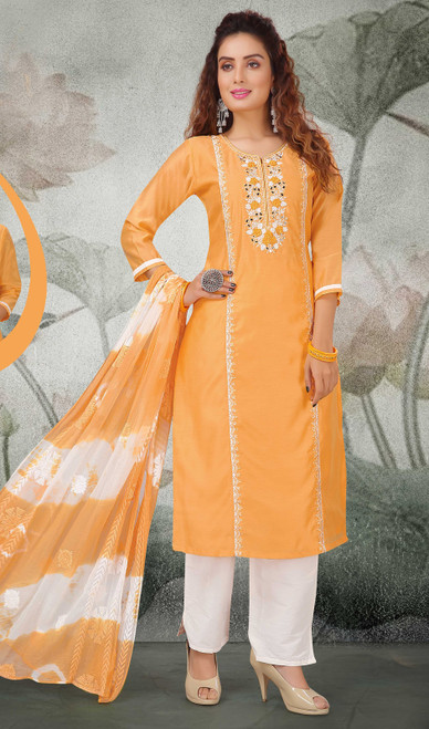 Light Orange Color Chanderi Embroidered Pant Style Suit