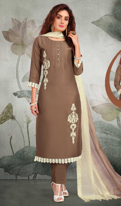 Brown Color Silk Embroidered Fancy Pant Style Suit