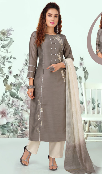 Gray Color Silk Embroidered Indian Pant Style Suit