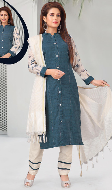 Khadi Teal Blue Color Embroidered Pant Style Suit