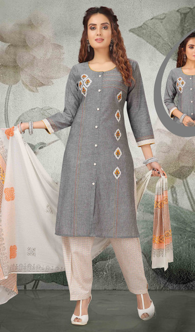 Cotton Gray Color Embroidered Pant Style Suit