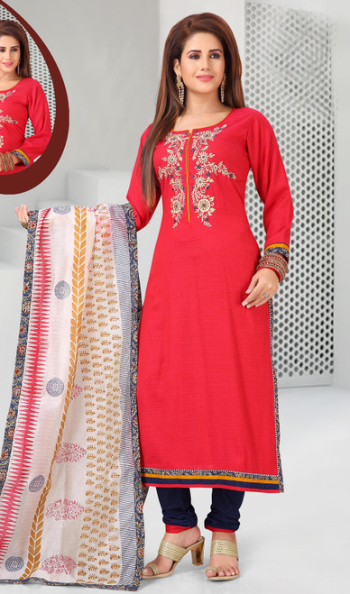 Cotton Red Color Embroidered Churidar Dress